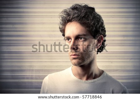 embitter man with backgrounds - stock photo