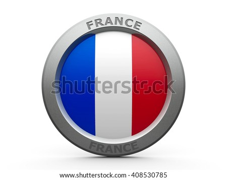 Emblem - Flag of France - isolated on white, three-dimensional rendering, 3D illustration - stock photo