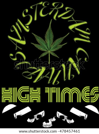 Emblem icon marijuana. High Times typography Hemp logo illustration for the use of printing on t-shirts, logos, labels, posters, trading stamps. Natural hemp product in flat style.