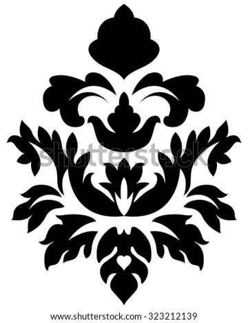 Emblem in Damask Style Over White Background