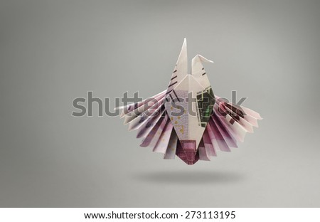 emblem of an eagle of five hundred euro banknotes. origami - stock photo