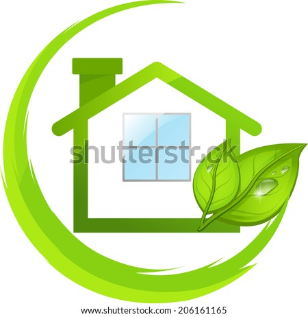 Emblem of simple green eco house with leafs.