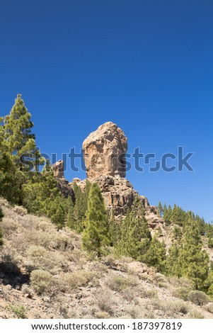 Emblematic Roque Nublo, symbolic natural monument of Gran canaria, Canary islands, Spain - stock photo