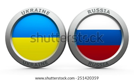 Emblems Ukraine and Russia are represented confrontation between Ukraine and Russia, three-dimensional rendering - stock photo
