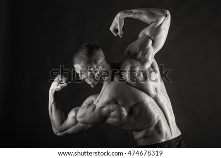 Embossed bodybuilder black and white photo