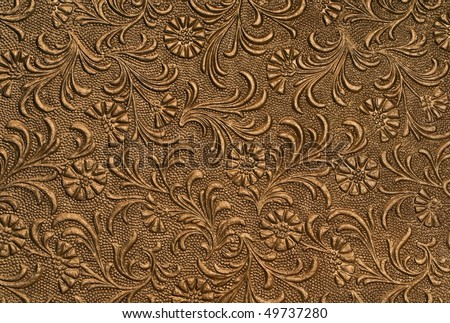 embossed floral panel, copper - stock photo