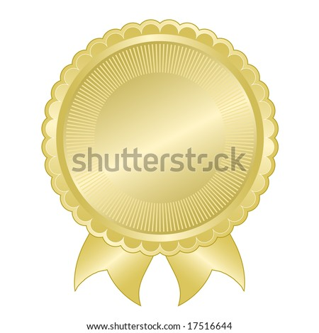 Embossed gold foil document seal good for award, quality assurance, anniversary, or commemorative use. Vector available. - stock photo