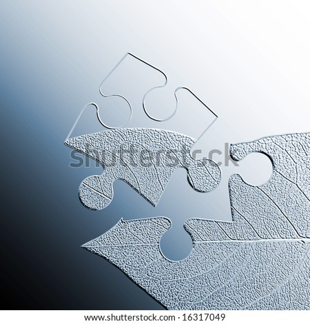 Embossed jigsaw piece of leaf on green graduated background