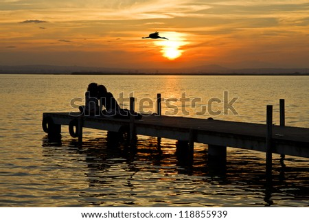 embraced watching the sunset - stock photo