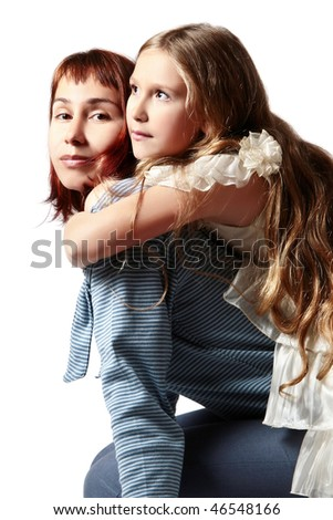 Embraces of mother and daughter. Two sitting female, adult and young isolated on white background - stock photo