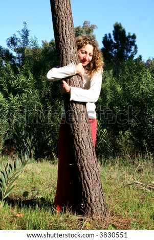 Embracing a tree - stock photo