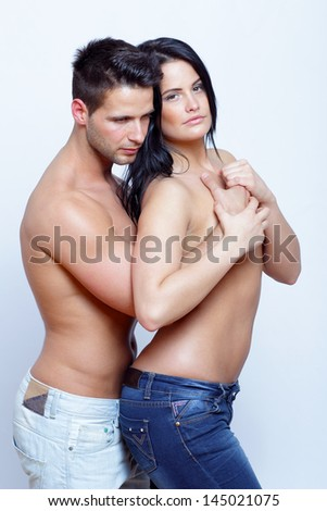 Embracing passionate couple portrait