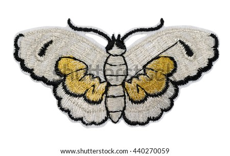 Embroidered Butterfly. Isolate on white background.
