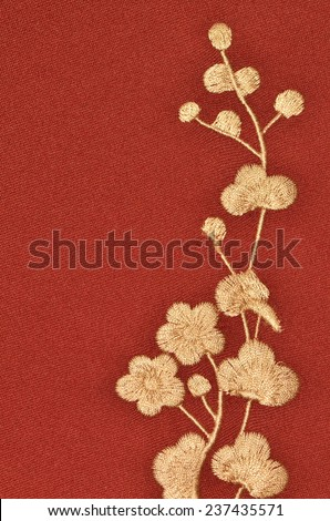 Embroidered flower and floral design in silk and fine weaved cloth / Cheongsam/Qipao / Traditional chinese dress or mandarin gown - stock photo
