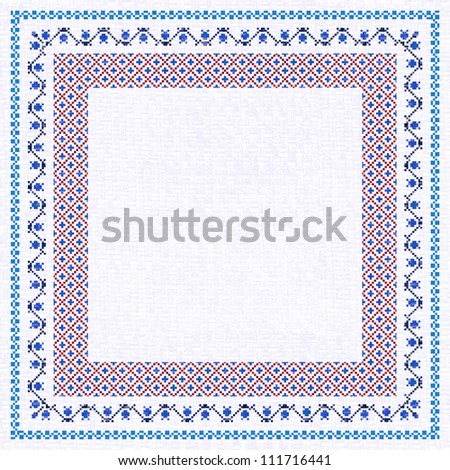 Embroidered frame; decorative background with place for text in ethnic style. Similar images here: http://www.shutterstock.com/sets/346840-embroidery-decorative-textile-background.html?rid=746206 - stock photo