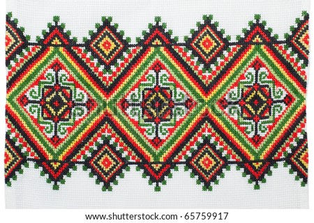 embroidered good by cross-stitch pattern - stock photo