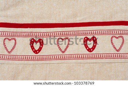 Embroidered towel - stock photo