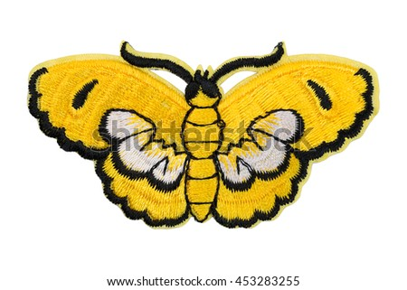 Embroidered yellow butterfly. Isolate on white.