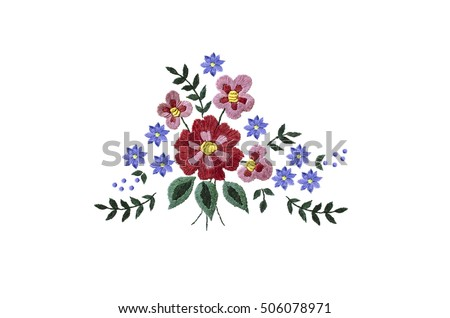 Embroidery bouquet of red and purple flowers and leaves on white background