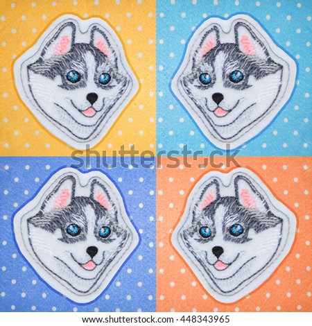 Embroidery dogs - husky/Pattern in the style of pop art with a dog breed Husky, consists of colored squares