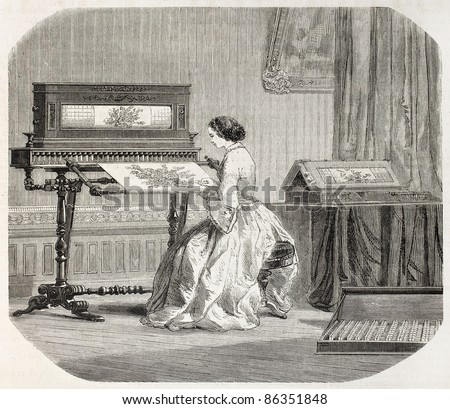 Embroidery machine old illustration. By unidentified author, published on L'Illustration, Journal Universel, Paris, 1860 - stock photo