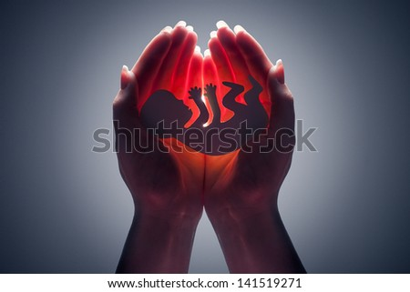 embryo silhouette in woman hand - stock photo