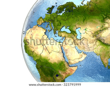 EMEA region on highly detailed planet Earth with embossed continents and country borders. Elements of this image furnished by NASA. - stock photo