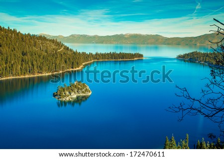 Emerald Bay in the winter, Lake Tahoe - stock photo