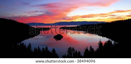 Emerald Bay, part of Lake Tahoe at sunrise. - stock photo