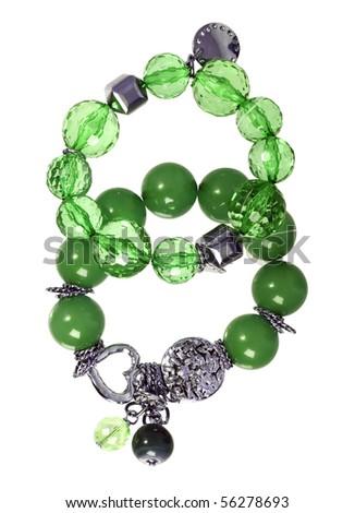 emerald bracelet - stock photo