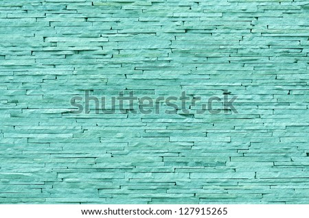 Emerald brick wall background - stock photo
