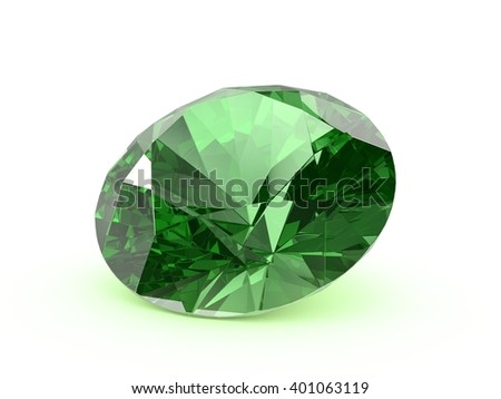 Emerald crystal of a diamond shape on a white background. Render.