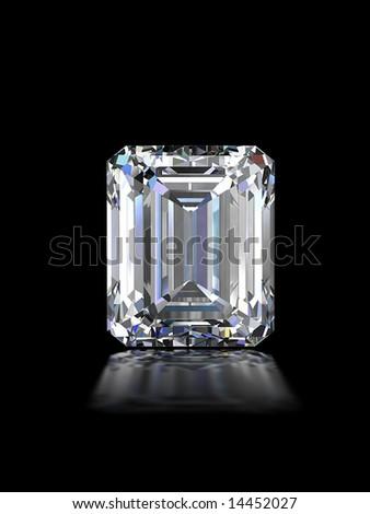 Emerald cut diamond - stock photo