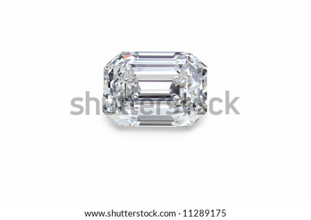 emerald cut diamond on white - stock photo