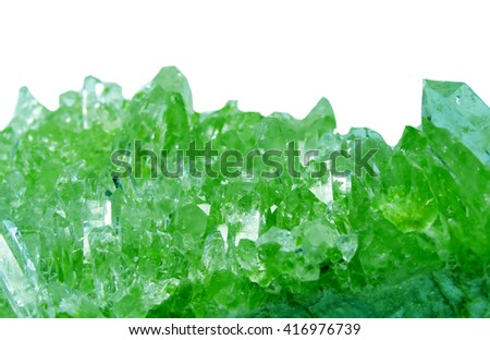 emerald gem semigem geode crystals geological mineral isolated  - stock photo