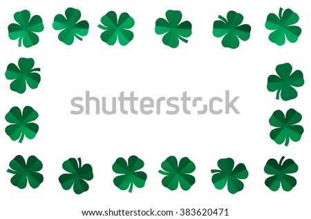 Emerald green paper clover shamrock leafs wreath border frame on white background isolated without shadow. St. Patrick's Day postcard template. - stock photo