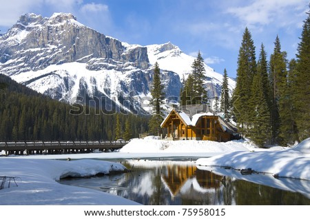 Emerald lake Chalet, Yoho National Park, British Columbia, Canada - stock photo