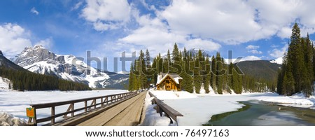 Emerald lake Chalet, Yoho National Park, British Columbia, Canada  Large file size, stiched together using RAW files; no upscaling, upsizing, upsampling or stretching involved! - stock photo