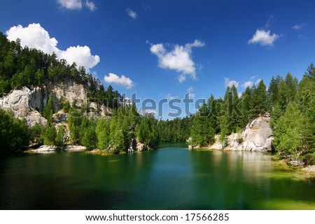 Emerald lake in National park of Adrspach-Teplice rocks - Czech Republic/Europe