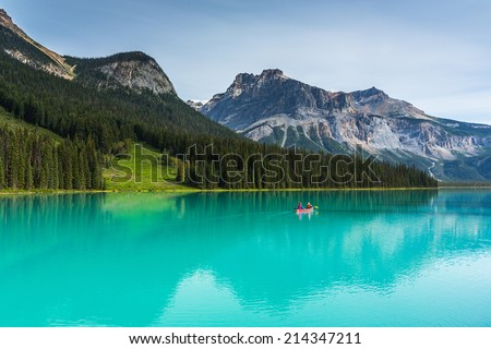 Emerald Lake in the Yoho National Park canada - stock photo