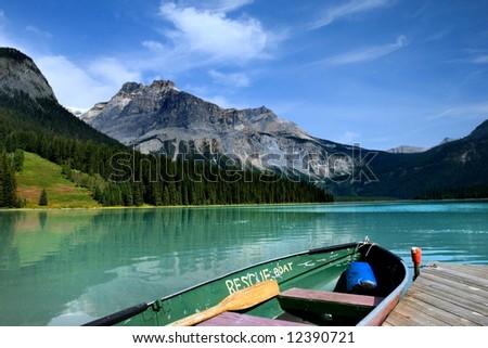 Emerald lake in Yoho national park, Canadian Rockies - stock photo