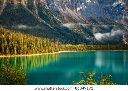 Emerald lake. Yoho National park. Alberta. Canada, Oct. 2011 - stock photo