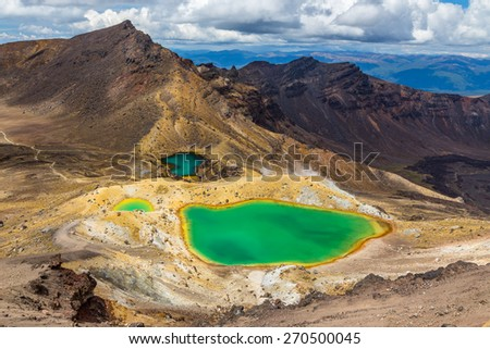 Emerald lakes in Tongariro national park, North island of New Zealand - stock photo