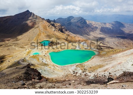 Emerald Lakes, Tongariro National Park, New Zealand - stock photo