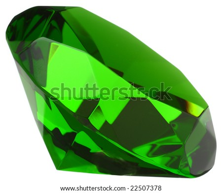 Emerald macro closeup isolated on white - stock photo