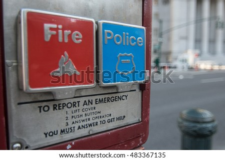 Emergency alarm system for Fire Department and Police on the streets of New York CIty