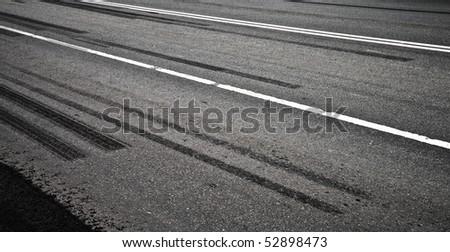 Emergency braking tracks on the highway - stock photo