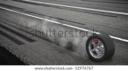 Emergency braking wheel with smoke on the highway. 3d render illustration. - stock photo