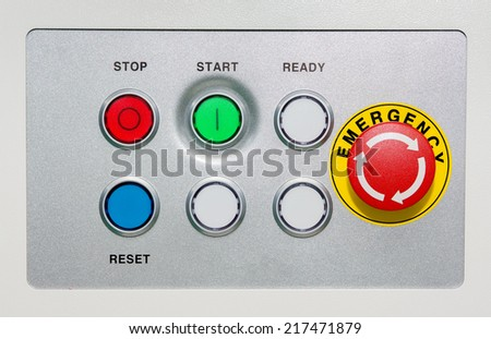 Emergency Button on silver panel - stock photo