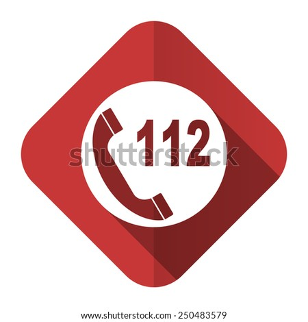emergency call flat icon 112 call sign  - stock photo